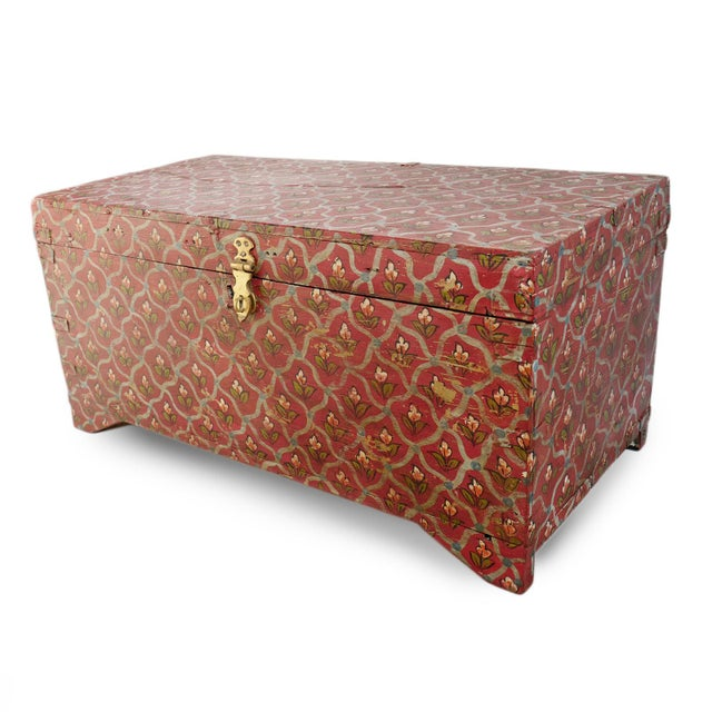 Asian Painted Flower Wood Box For Sale - Image 3 of 8