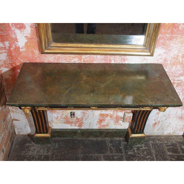 Empire Antique French Painted and Gold Leaf Console in Neoclassic Style, circa 1860 For Sale - Image 3 of 5