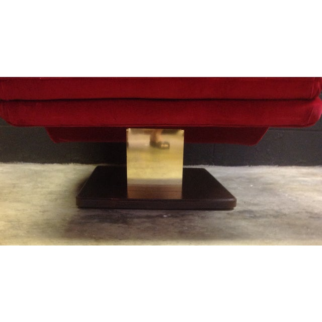 1980's Red Velvet Wave Chaise - Image 6 of 8