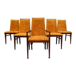 Milo Baughman for Dillingham Orange Shag Walnut Dining Chairs For Sale