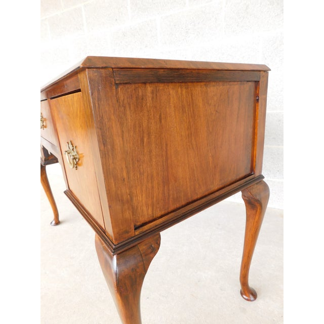 Features Quality Solid Construction - Hand Cut Dovetailed Drawers, Figured Mahogany Tooled Leather Top Surface, Approx 80...