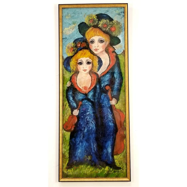 1960s Mid Century Original Oil Painting on Canvas For Sale - Image 12 of 12