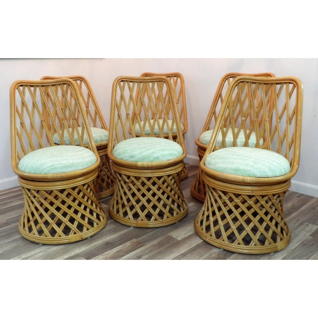 Wood Vintage Rattan Dining Set - 7 Pieces For Sale - Image 7 of 8