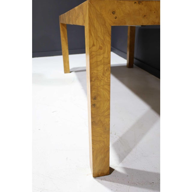 Wood Milo Baughman Olivewood Burl Parsons Dining Table For Sale - Image 7 of 13