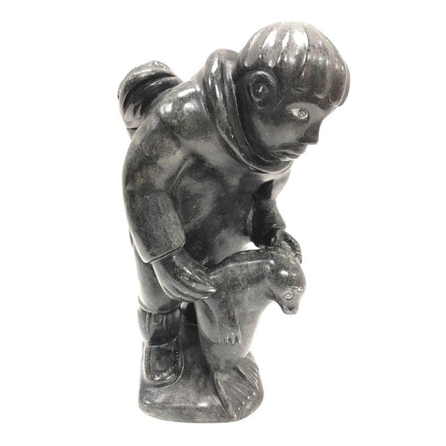 Gray Inuit Soapstone Sculpture Figurine Art Figure For Sale - Image 8 of 8
