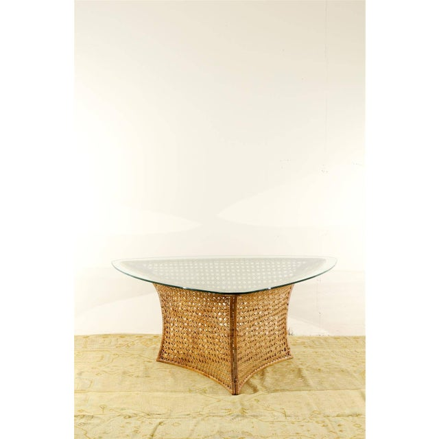 Mid-Century Modern Fantastic Vintage Rattan Triangle Base Dining or Game Table by Danny Ho Fong For Sale - Image 3 of 9