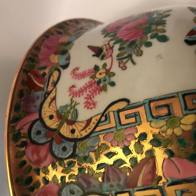 Ceramic Rose Medallion Bowl For Sale - Image 7 of 11