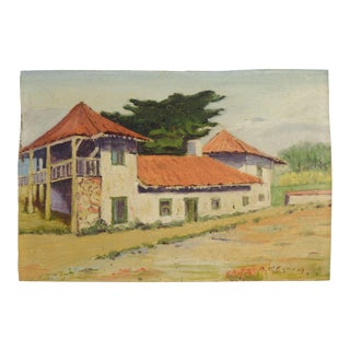 1920s Vintage Adobe Ranch House Oil on Canvas Painting For Sale