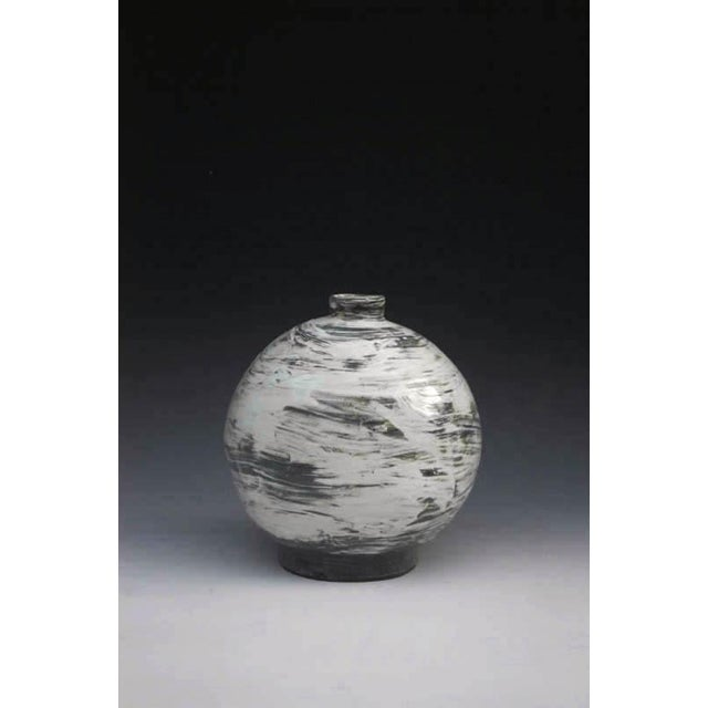 Puncheong Oval Bottle Ceramic with ash glaze.
