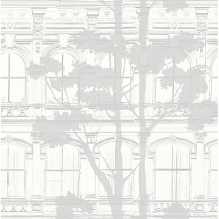 Art Deco Tree Shadows in Cream and Silver Wallpaper - 1 Double Roll For Sale