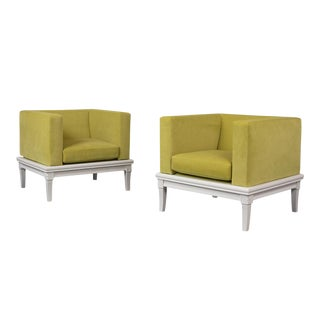 Pair of Modern Lowback Cube Lounge Chairs For Sale