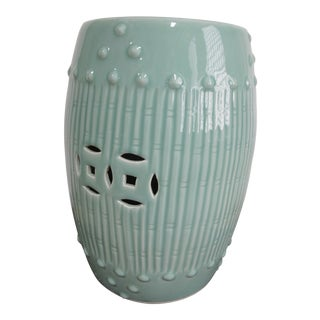 Chinese Celadon Bamboo Garden Stool For Sale