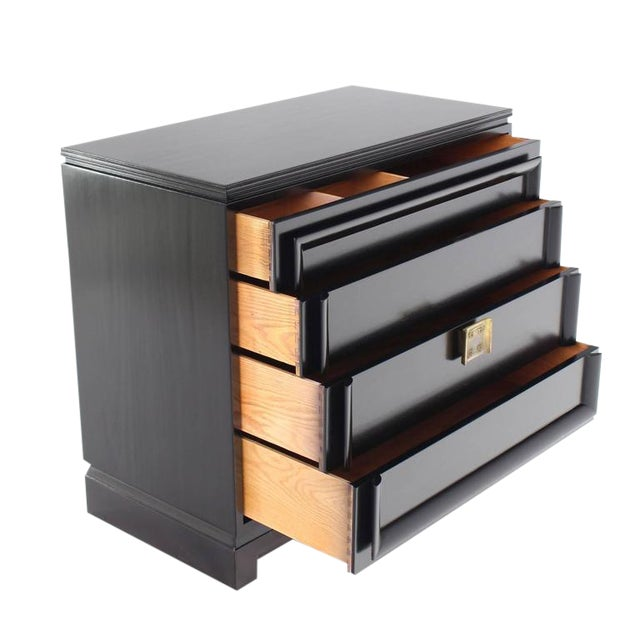 Vintage Mid-Century Black Lacquered 4-Drawer Bachelor Chest For Sale - Image 10 of 10