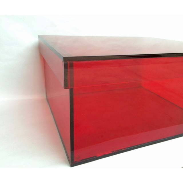Vintage Red Acrylic Storage Box - Image 5 of 7