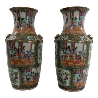 "Chinese Export ""Mandarin"" Temple Vases a Pair For Sale"
