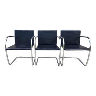 Late Mid Century Bruno Ludwig Mies Van Der Rohe Tubular Chairs-Set of 3 For Sale