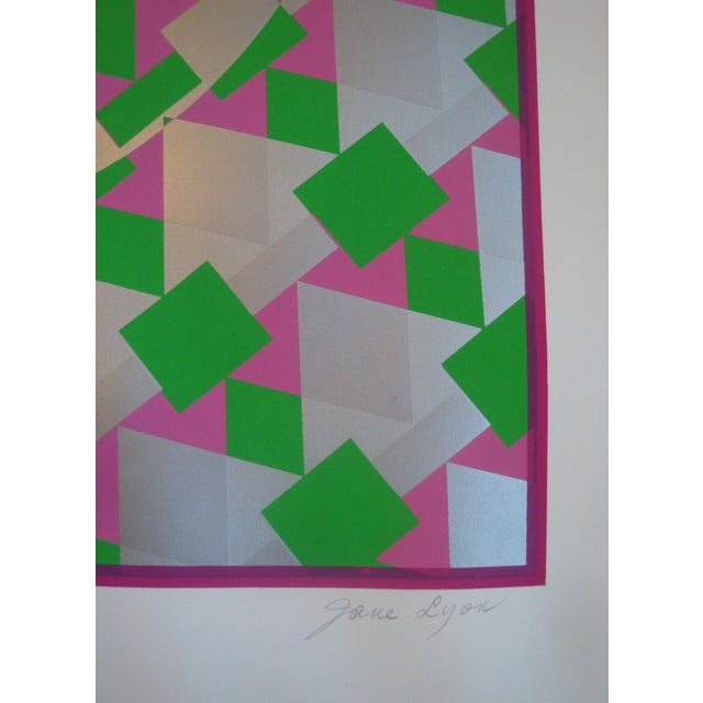 Mid 20th Century Large Op Art Silver Metallic Silkscreen Poster Modernist Like Vasarely For Sale - Image 5 of 5