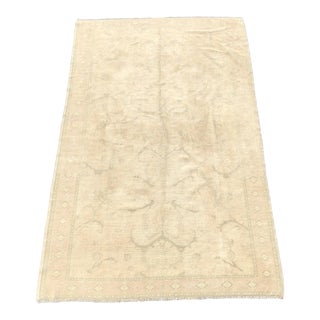 "Vintage Turkish Oushak Wool Rug - 4'9""x8'3"" For Sale"
