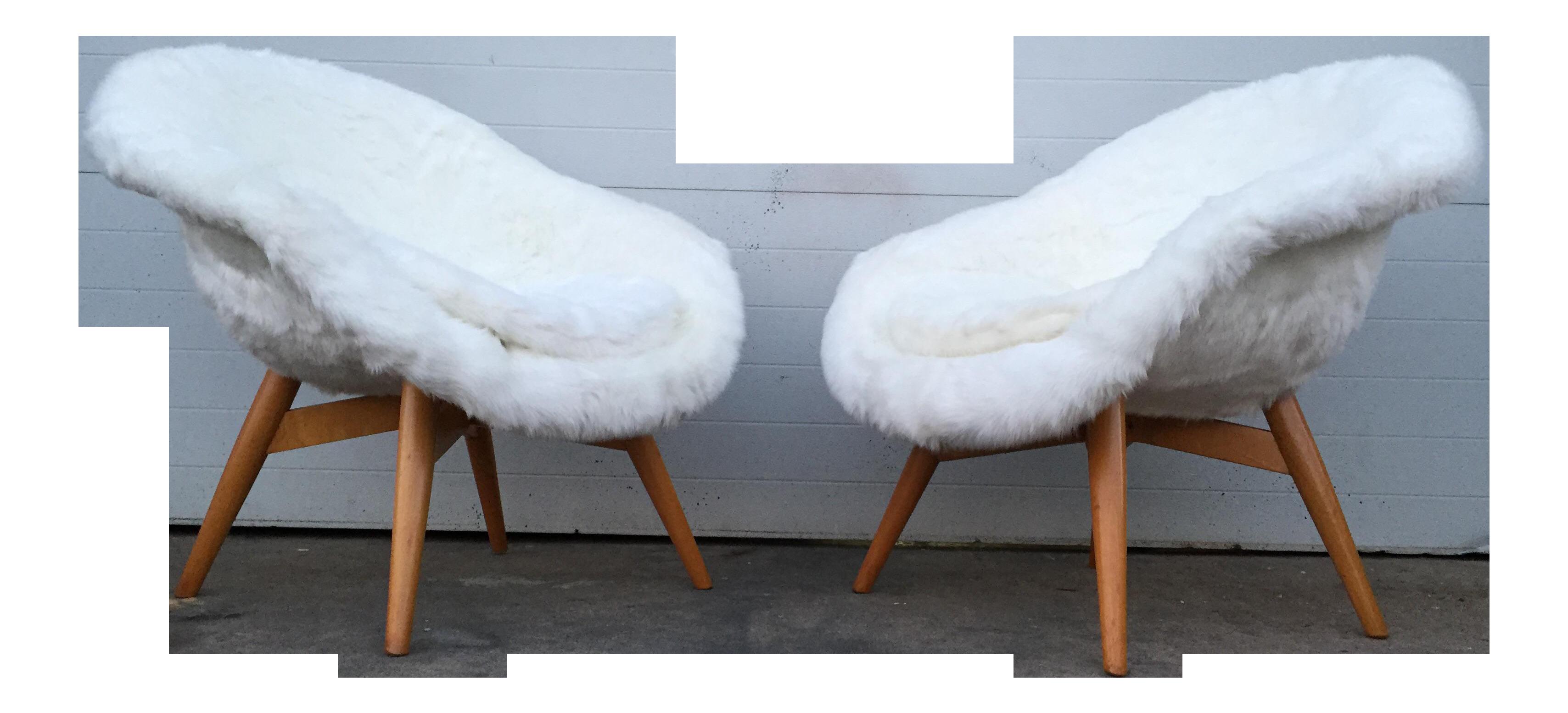 Miroslav Navratil Faux Fur Chairs   A Pair
