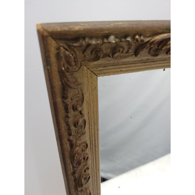 1960s Vintage 1960s Gesso Gold Wood Square Wall Mirror For Sale - Image 5 of 10