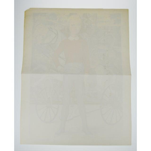 "Paper Tsuguharu Foujita ""Little Cavalier"" Mid-Century Print For Sale - Image 7 of 10"