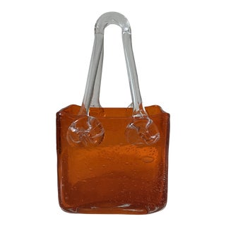 Murano Style Orange Blown Glass Shopping Bag For Sale
