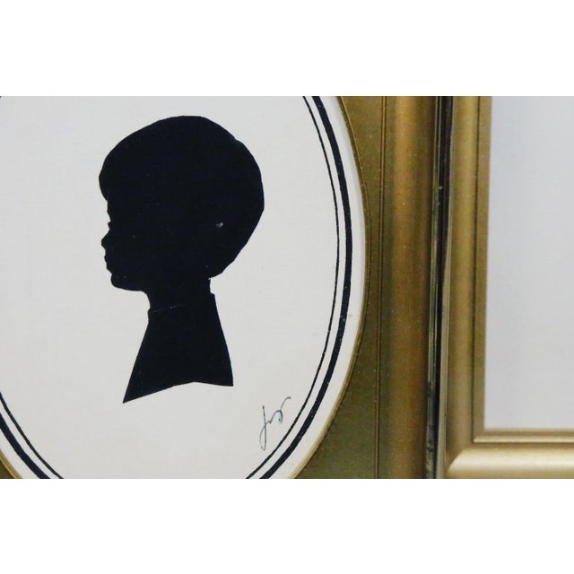 Mid-Century Modern Mid-Century Male Portrait Silhouette Art Prints in Gold Metal Frames - Set of 3 For Sale - Image 3 of 4