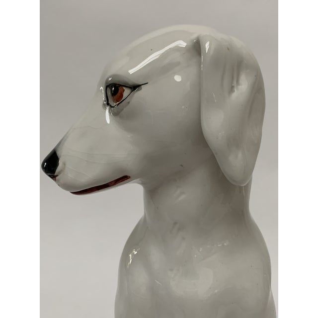 Ceramic Final Markdown Large Italian White Ceramic Greyhound Dog Puppy Figure For Sale - Image 7 of 13