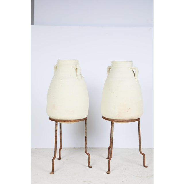 Pair of Vintage Mediterranean White Clay Vessels on Forged Iron Stands For Sale - Image 11 of 12