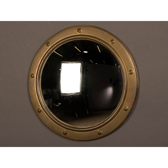 English Traditional 1950s English Vintage Brass Framed Convex Mirror For Sale - Image 3 of 6
