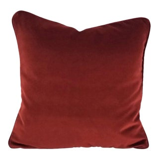 "Kravet Versailles Burgundy Red Velvet with Self-Welt Pillow Cover - 18"" X 18"" For Sale"