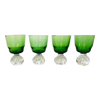 Vintage Green Art Glass Cordials - Set of 4 For Sale