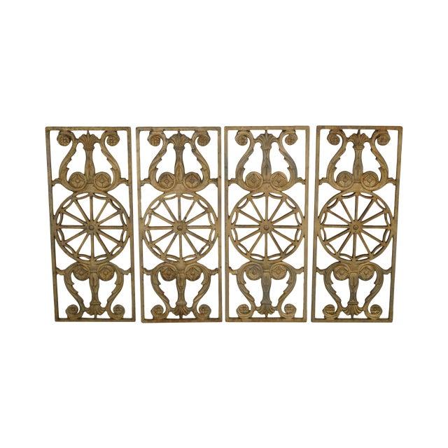 Art Deco Antique Vintage 1940's Set of 9 Cast Iron Railing Panels For Sale