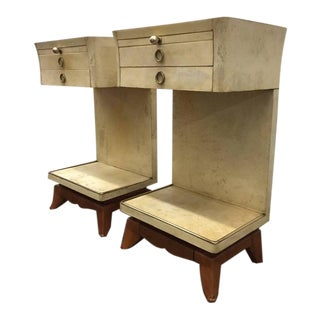 Pair of Italian Parchment Nightstands For Sale