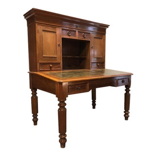 19th Century Antique Walnut Railroad Paymaster Desk For Sale