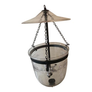 A. Sanoma Tiffany Cut Mouth Blown Glass Bell Jar Lantern For Sale