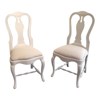 Going Soon! Gorgeous Pair of 2 Swedish Gustavian White Wood Chairs Handmade (Shabby Baroque) For Sale