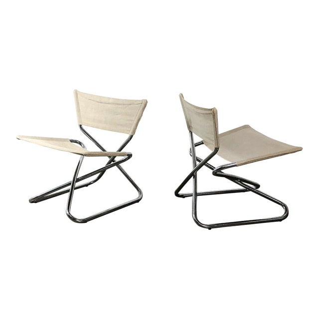 1960s Erik Magnussen Chrome Sling Z Down Chairs - a Pair For Sale - Image 9 of 9