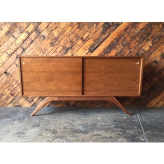 Mid Century Style Custom Walnut Sculpted Base Credenza Preview