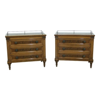 Pair Karges French Style Walnut 3 Drawer Nightstands For Sale