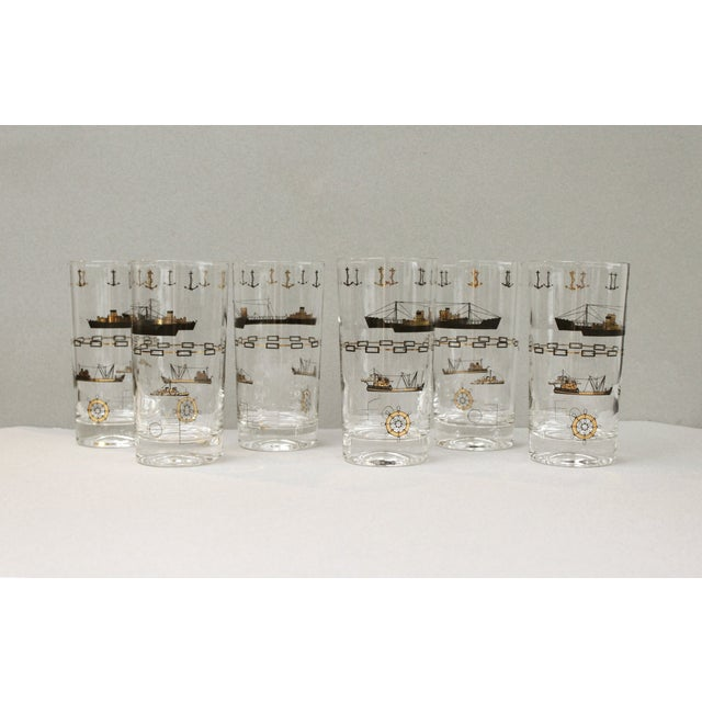 Nautical Gold Cocktail Glasses - Set of 6 - Image 2 of 4