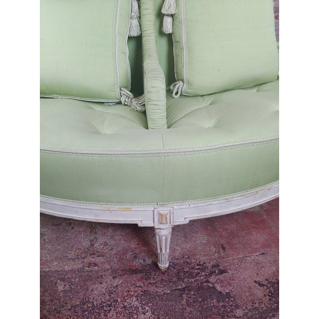 Paint Louis XVI Style Fabulous Painted & Upholstered Round Settee For Sale - Image 7 of 8