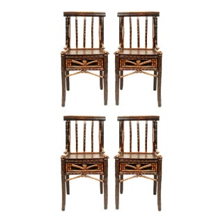 Rustic Adirondack Side Chairs With Spindle Back - Set of 4 For Sale