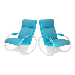 Charles Hollis Jones Lucite Rocking Chairs - a Pair For Sale