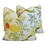 """Image of Schumacher Chinoiserie Linen Feather/Down Pillows 21"""" Square - Pair For Sale"""