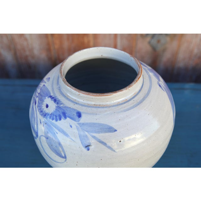 1930s Blue and White Asian Glazed Pot For Sale - Image 5 of 8