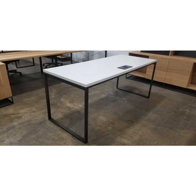 West Elm West Elm Industrial White Wood Grain Desk For Sale - Image 4 of 6