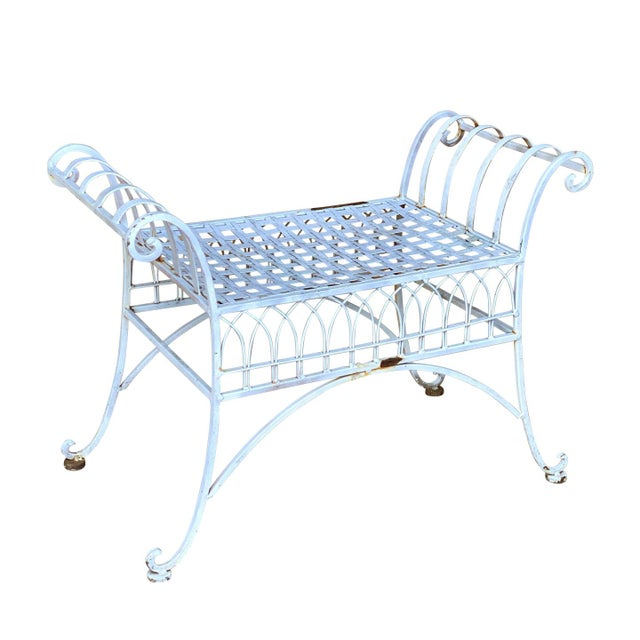 Vintage Victorian White Wrought Iron Sculpted Patio Garden Bench For Sale - Image 12 of 12