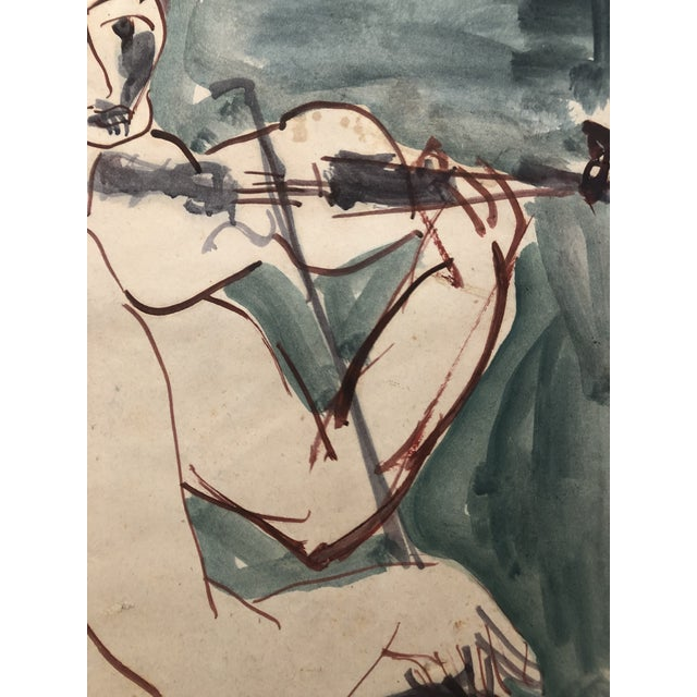 Blue Mid-Century Female Nude With Violin Watercolor 1960s For Sale - Image 8 of 12