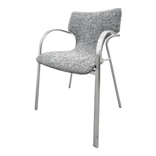 1990s Bernhardt Stackable Stainless Steel Dining Chairs Reupholstered in Tom Ford Wool Boucle by Reitter Design Studio For Sale